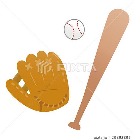 野球のグローブとバットとボール 29892892