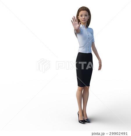 ポーズするビジネスウェアの女性 ビジネスウーマン perming3DCGイラスト素材 29902491