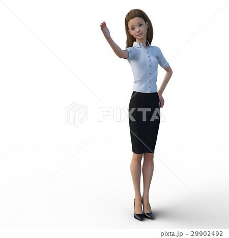 ポーズするビジネスウェアの女性 ビジネスウーマン perming3DCGイラスト素材 29902492