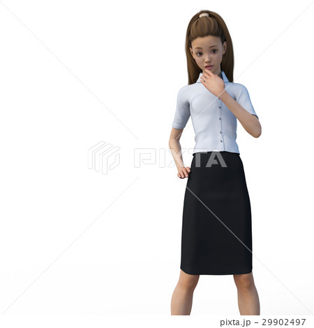 ポーズするビジネスウェアの女性 ビジネスウーマン perming3DCGイラスト素材 29902497
