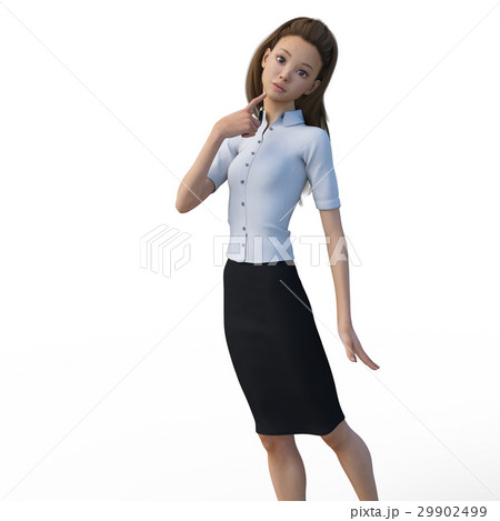 ポーズするビジネスウェアの女性 ビジネスウーマン perming3DCGイラスト素材 29902499