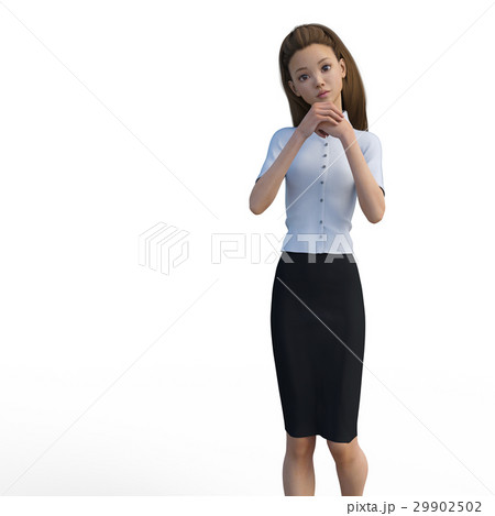 ポーズするビジネスウェアの女性 ビジネスウーマン perming3DCGイラスト素材 29902502