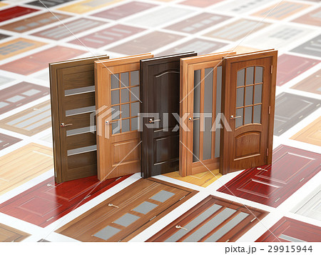Different wooden doors on catalog with samples 29915944
