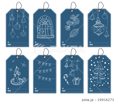 winter and new year gift tags set template vectorのイラスト素材