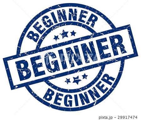 beginner blue round grunge stamp 29917474