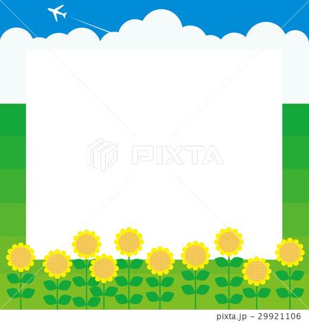 夏 向日葵 入道雲 飛行機 青空 29921106