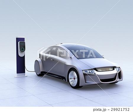 急速充電器で充電する電気自動車のイメージ 29921752