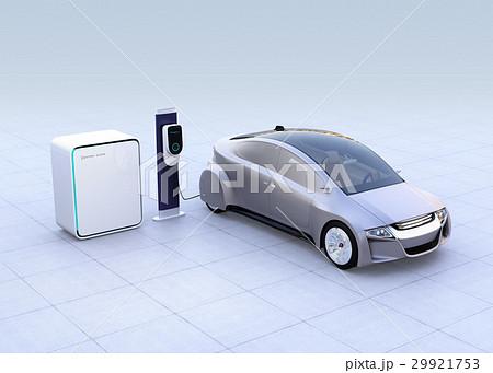 蓄電池が備えた急速充電スタンドに充電する電気自動車のイメージ 29921753