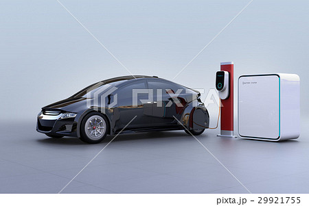蓄電池が備えた急速充電スタンドに充電する電気自動車のイメージ 29921755