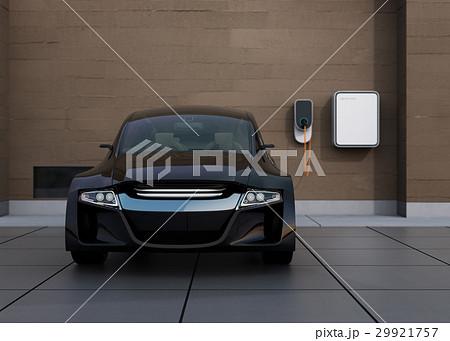 黒色の電気自動車、壁掛け式EV充電スタンドと蓄電池のイメージ。 29921757