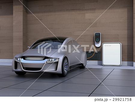 電気自動車、壁掛け式EV充電スタンドと蓄電池のイメージ。 29921758