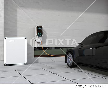 黒色の電気自動車、壁掛け式EV充電スタンドと蓄電池のイメージ。 29921759