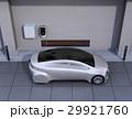 つや消しシルバーの電気自動車、壁掛け式EV充電スタンドと蓄電池のイメージ。 29921760