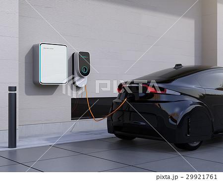 黒色の電気自動車、壁掛け式EV充電スタンドと蓄電池のイメージ。 29921761