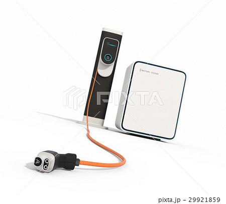 白バックにあるEV急速充電スタンドと蓄電池のイメージ。 29921859
