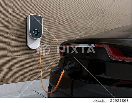 壁掛け式急速充電器でクルマを充電しているイメージ 29921863