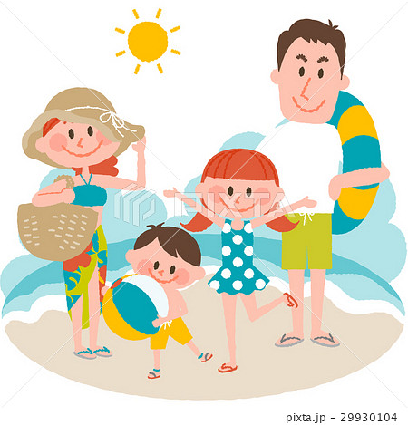 家族で海辺のバカンス 29930104