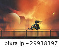 woman sitting on railing looking at beautiful sky 29938397