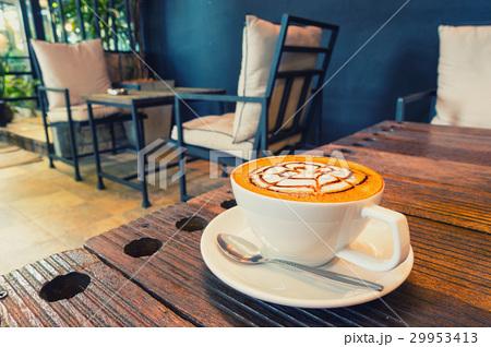 Hot coffee mocha on table.の写真素材 [29953413] - PIXTA