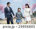 桜並木を歩くファミリー 29956805