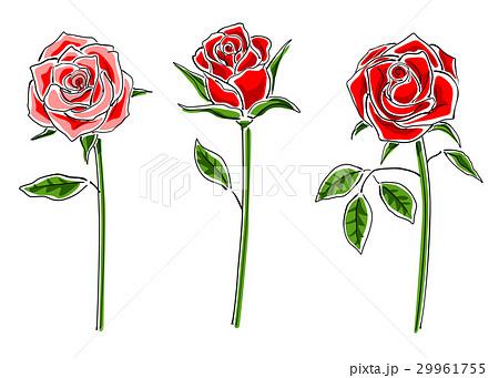 赤いバラのセットシンプルのイラスト素材 29961755 Pixta