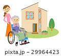 マイホームと車椅子に座る高齢者 29964423