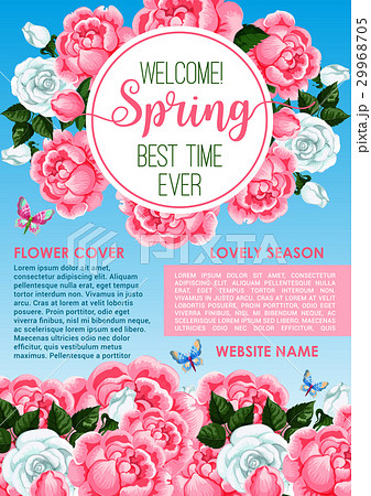 welcome spring floral greeting banner templateのイラスト素材