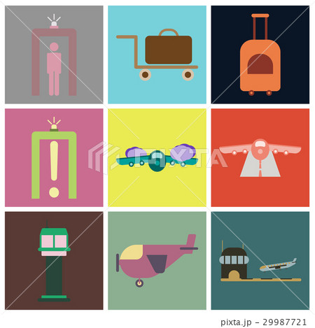 Set of icons in flat design for airport 29987721