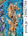 Yellow dragon with open mouth glazed tiles figure 29987799