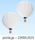 White hot air balloon on clouds background with 29991925