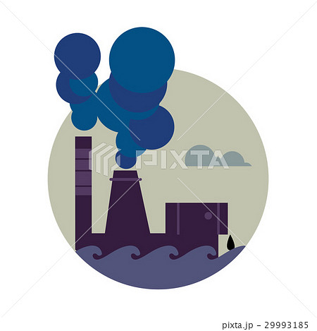 Air pollution banner. Factory with smoke stack 29993185