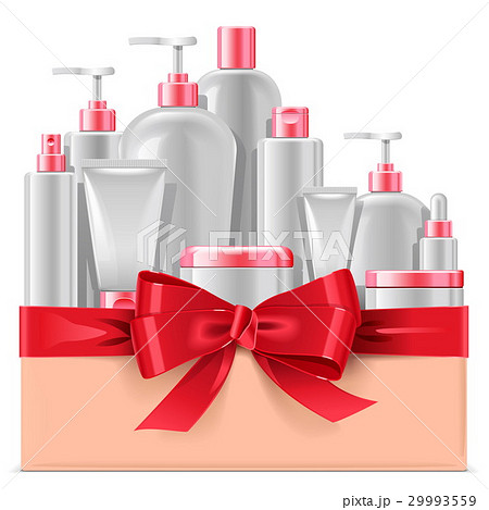 Vector Cosmetic Packaging with Red Bow 29993559