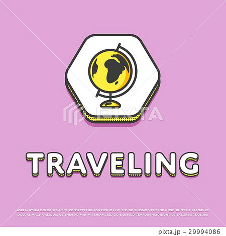 Traveling colour icon with globe 29994086