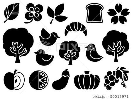 シンプルマークイラスト2(黒) 植物・食べ物・鳥 30012971