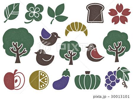 木プリント風 マークイラスト2(カラーミックス) 植物・食べ物・鳥 30013101