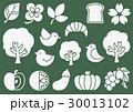 木プリント風 マークイラスト2(白) 植物・食べ物・鳥 30013102