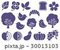 木プリント風 マークイラスト2(紫) 植物・食べ物・鳥 30013103