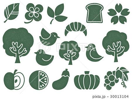 木プリント風 マークイラスト2(緑) 植物・食べ物・鳥 30013104