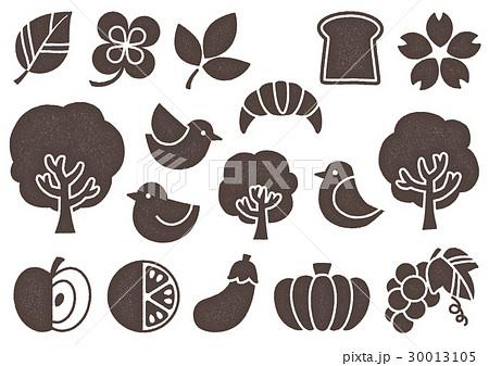 木プリント風 マークイラスト2(茶) 植物・食べ物・鳥 30013105