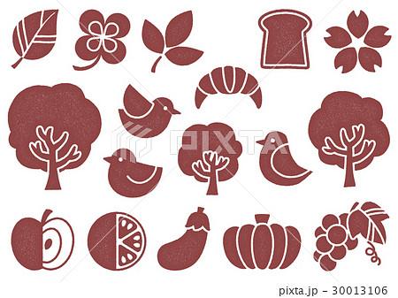 木プリント風 マークイラスト2(赤) 植物・食べ物・鳥 30013106