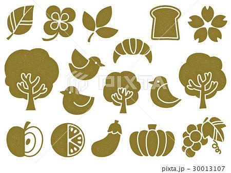 木プリント風 マークイラスト2(黄) 植物・食べ物・鳥 30013107