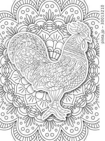 printable coloring book page for adults roosterのイラスト素材