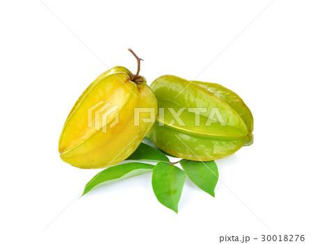 carambole , star fruit on white backgroundの写真素材 [30018276] - PIXTA