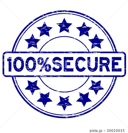Grunge blue 100 percent secure round rubber stamp 30020035
