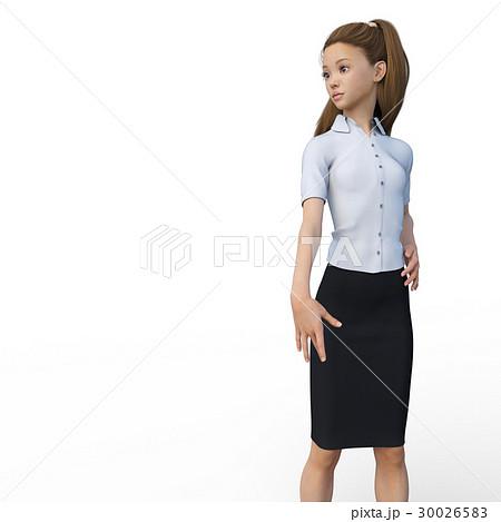 ポーズするビジネスウェアの女性 ビジネスウーマン perming3DCGイラスト素材 30026583
