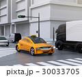 交差点を通過している黄色のタクシーのイメージ 30033705