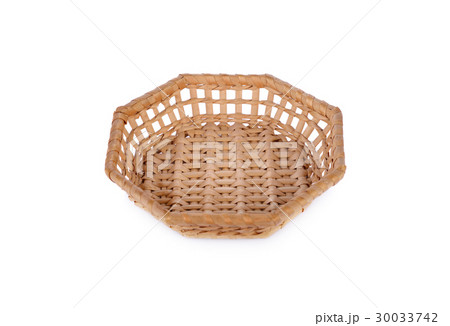 empty octagon bamboo basket on white backgroundの写真素材 [30033742] - PIXTA