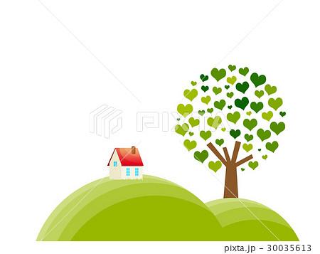丘にある煙突屋根の一軒家とハートの木 30035613