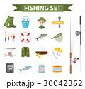 Fishing icon set, flat, cartoon style. Fishery 30042362