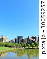 夏の青空と綺麗なマンション街の風景 30059257